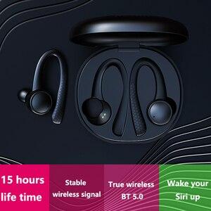 Image 2 - TWS 5,0 Bluetooth наушники для iphone Xiaomi Беспроводные наушники с микрофоном спортивные наушники с крючком для бега шумоподавление гарнитуры