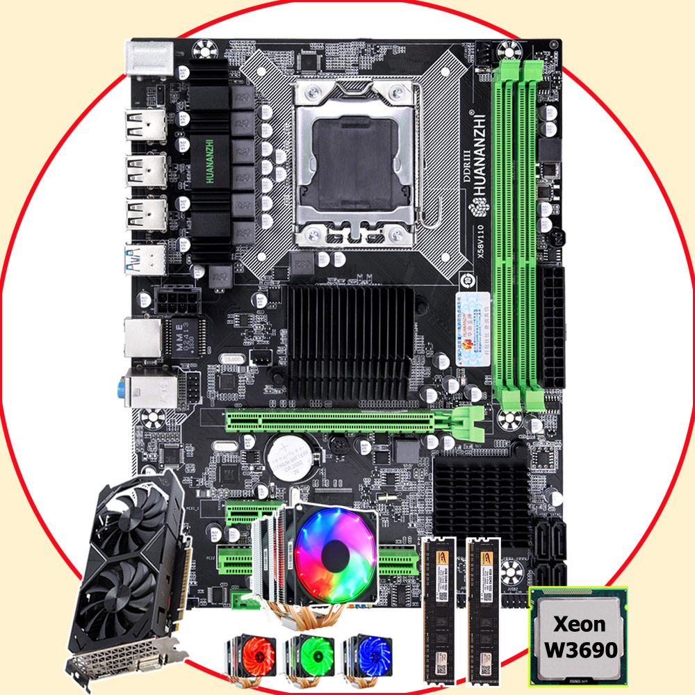 HUANANZHI X58 Pro LGA1366 motherboard with CPU Xeon W3690 3.46GHz 6 heatpipes cooler RAM 16G(2*8G) GPU GTX1050TI 4G video card image