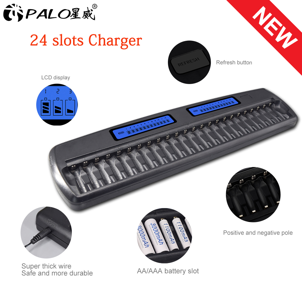 PALO 24 Slots LCD Display Smart intelligent <font><b>Battery</b></font> Charger for <font><b>AA</b></font> / AAA <font><b>battery</b></font> <font><b>Ni</b></font>-CD <font><b>Ni</b></font>-<font><b>MH</b></font> <font><b>1.2V</b></font> rechargeable <font><b>battery</b></font> <font><b>batteries</b></font> image