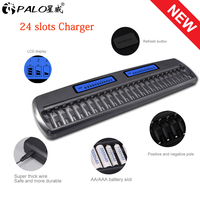 PALO 24 Slots LCD Display Smart intelligent Battery Charger for AA / AAA battery Ni CD Ni MH 1.2V rechargeable battery batteries