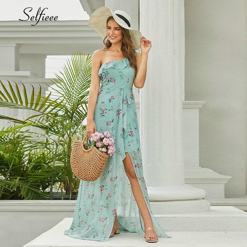 Casual Floral Printed Chiffon Maxi Dress Women A-Line Sleeveless Side Split Women Dress Sexy Summer Party Dress Robe Femme 2020 3