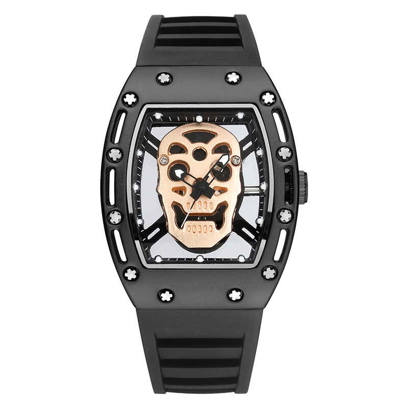 Skull Head Hollow Out Men Luminous Sports Watch Wine Barrel Shape Watch Silicone Fashion Casual Quartz Watches 503B