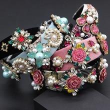 Bandeau Baroque exagéré et polyvalent, nouveau, mode, luxe, strass, fleur de perles, géométrique, bandeau 797