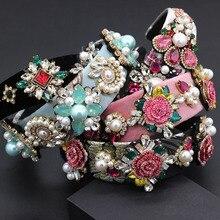 Diadema versátil y exagerada para Nueva Barroca, diadema para el trabajo pesado de lujo, color de moda con perlas de diamantes de imitación y flores, diadema geométrica 797