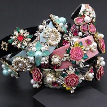 Fashion exaggerated versatile headband New Baroque heavy work luxury fashion color rhinestone pearl flower geometric headband797