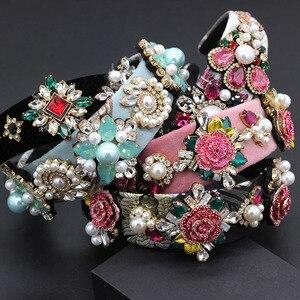 Image 1 - ファッション誇張された多彩なヘッドバンド新バロックヘビー作業高級ファッション真珠の花幾何学 headband797