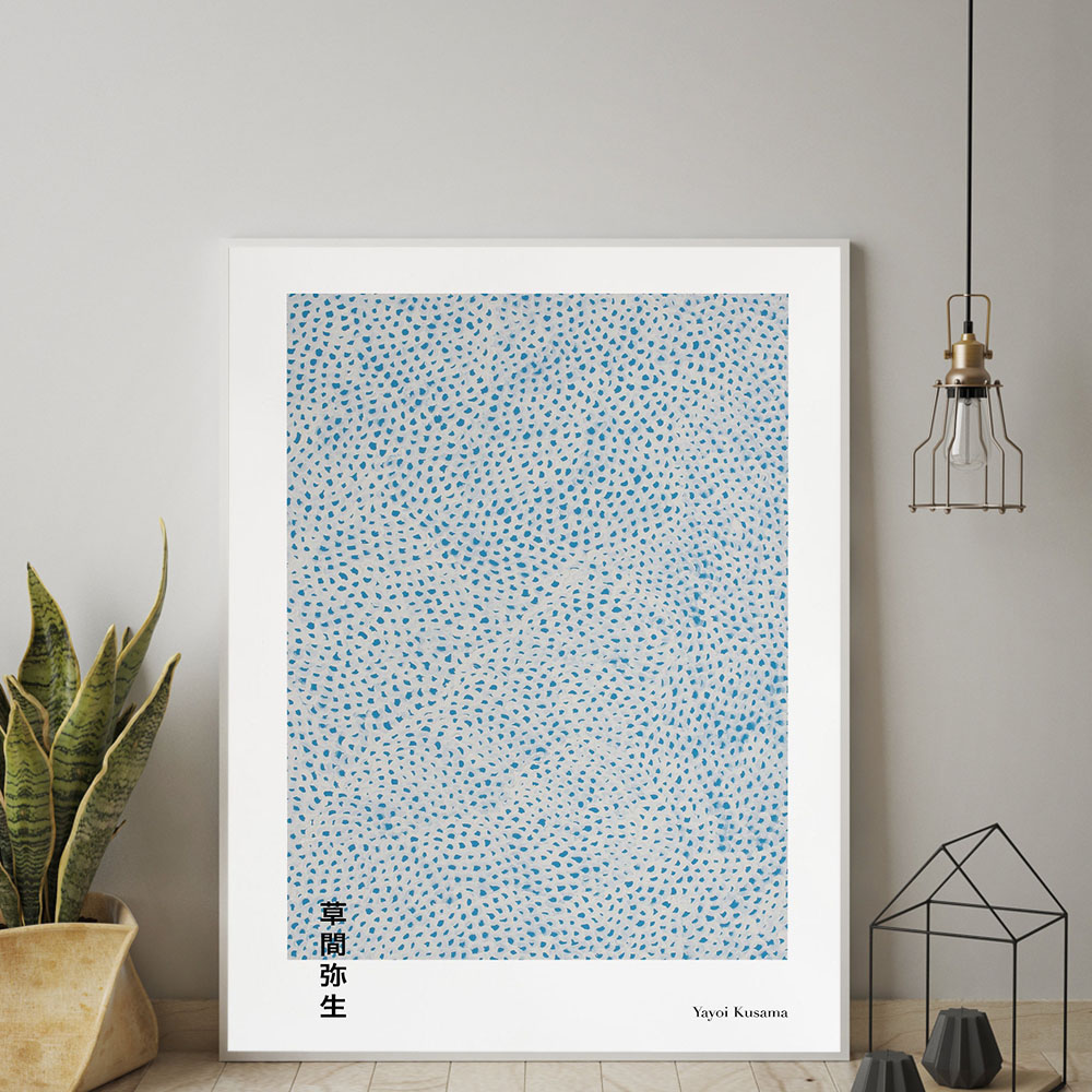 Yayoi Kusama Artwork Exhibition Posters and Prints Gallery Wall Art Pictures Light Blue Canvas Painting Living Room Home Decor