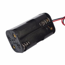High Quality AA Battery Holder 6V for 4 x AA Batteries Black Plastic Storage Box Case Dual Layers With Wire Lead
