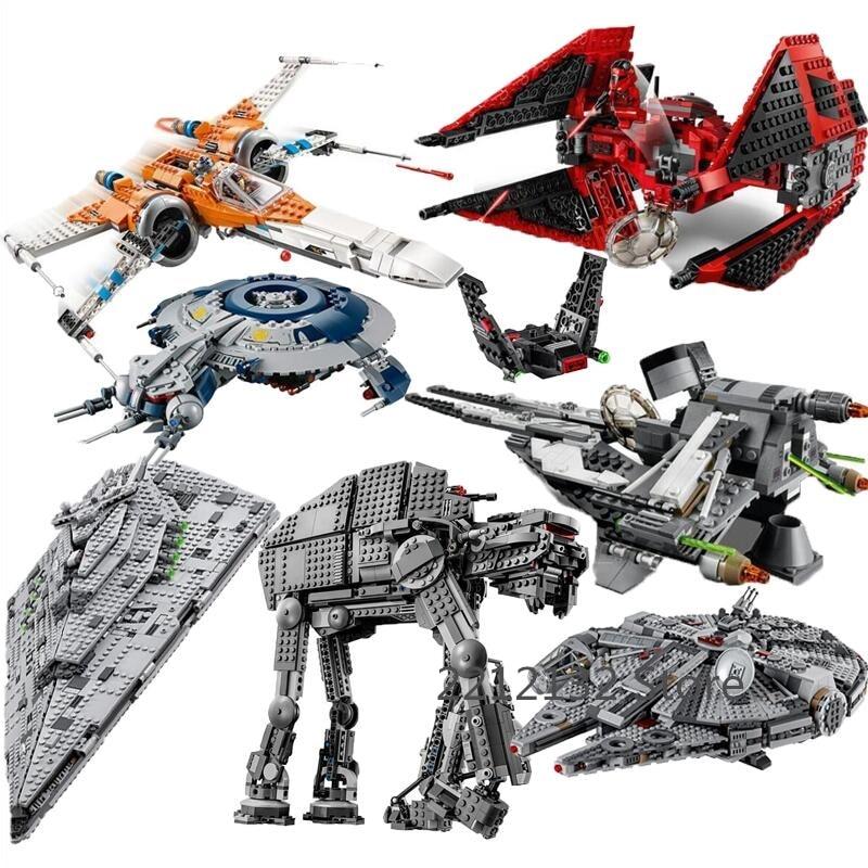 New Star Wars Tie Fighter AT-TE Walker Darth Vader Castle Figure Building Blocks Brick Legoinglys Toys For Children 75240 75261