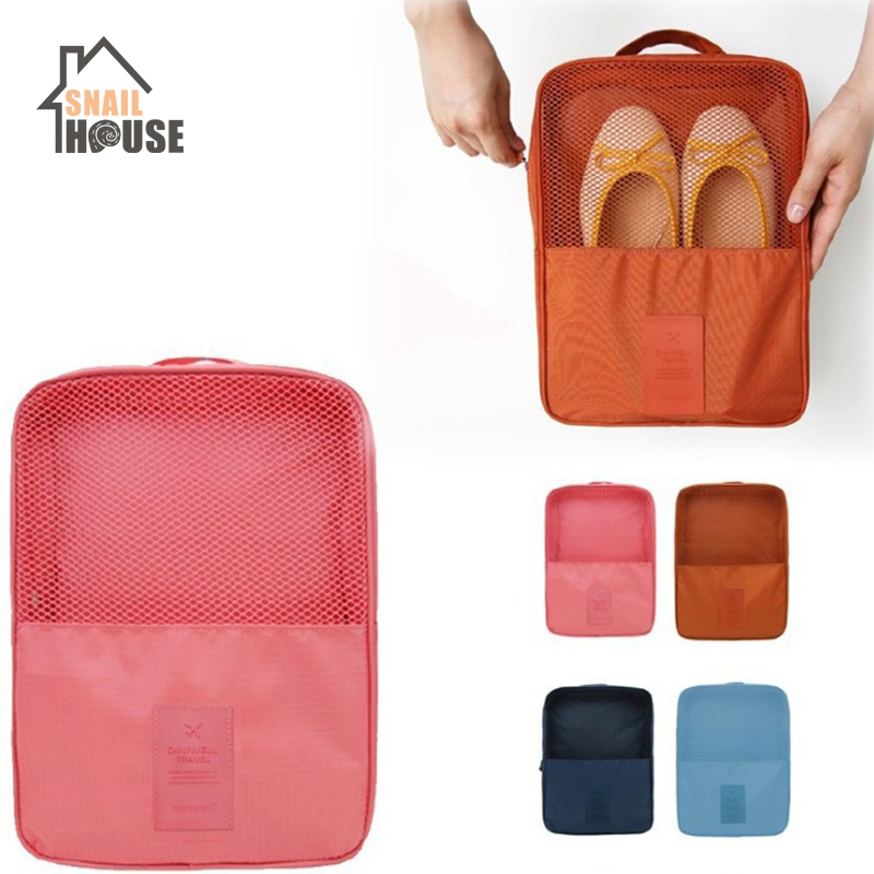 Snailhouse Portable Foldable Waterproof Travel Storage Bags Shoe Bags High Capacity Zipper Organizer Solid Color Sort Save Space