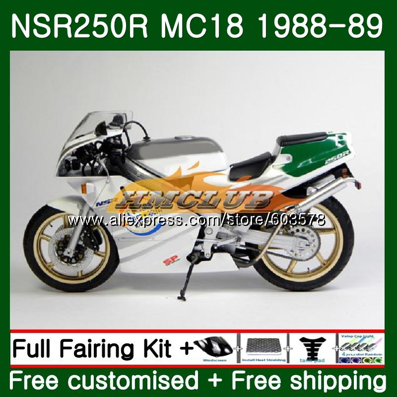 Kit For HONDA <font><b>NSR</b></font> <font><b>250</b></font> R MC18 PGM2 <font><b>NSR</b></font> 250R NS250 NSR250R 1988 1989 100CL.88 MC16 NSR250 R RR NSR250RR 88 89 Fairing White Green image