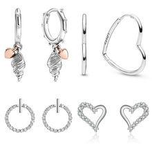2020 nuevo gran oferta Plata de Ley 925 100% auténtica pendiente de caracola para las mujeres, joyería, regalo de fiesta de boda de compromiso