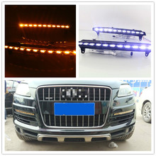 2pcs For Audi Q7 2006 2007 2008 2009 Yellow Turn Signal Function Car DRL Waterproof 12V LED Daytime Running Light Fog Lamp Bulb цена в Москве и Питере