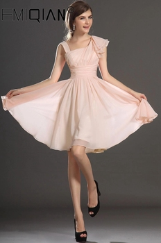 Free Shipping New Lovely Tank Pleated Bodice Light Pink Chiffon Cocktail Dress - discount item  38% OFF Special Occasion Dresses