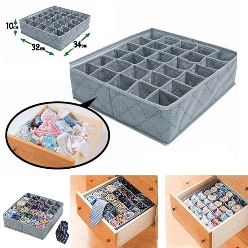 Organizer Socks Storage-Bag Underwear Drawer Cabinet Charcoal Foldable Non-Woven Large-Capacity