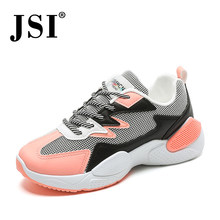 JSI Women Chunky Flat Platform Sneakers Round Toe Lace-Up Mixed Colors Microfiber Casual Shoes Stylish Breathable Sneakers JY4(China)