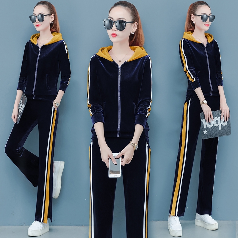 Gold Velvet Sports Suit Female Spring Autumn 2019 New Fashion Sweater Hooded Loose Casual Running Clothes Two-piece Set Women