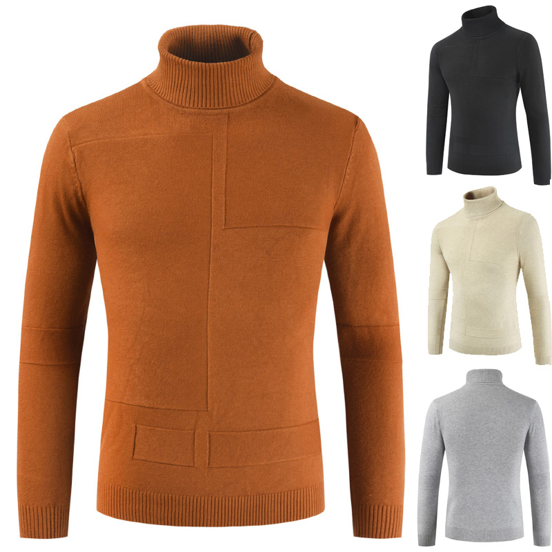 New Autumn Winter Men's Sweater Men's Turtleneck Skinny Warm Solid Color Casual Sweater Men Slim Fit Brand Knitted Pullovers
