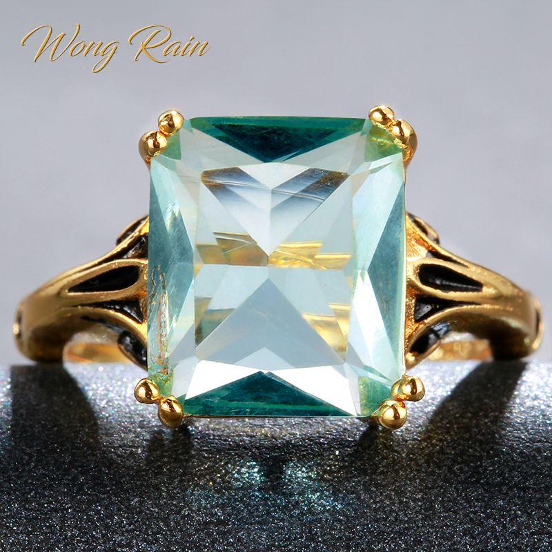 Wong Rain Vintage 100?5 Sterling Silver Aquamarine Gemstone Wedding Engagement Yellow Gold Ring Fine Jewelry Gifts Wholesale Rings    - AliExpress