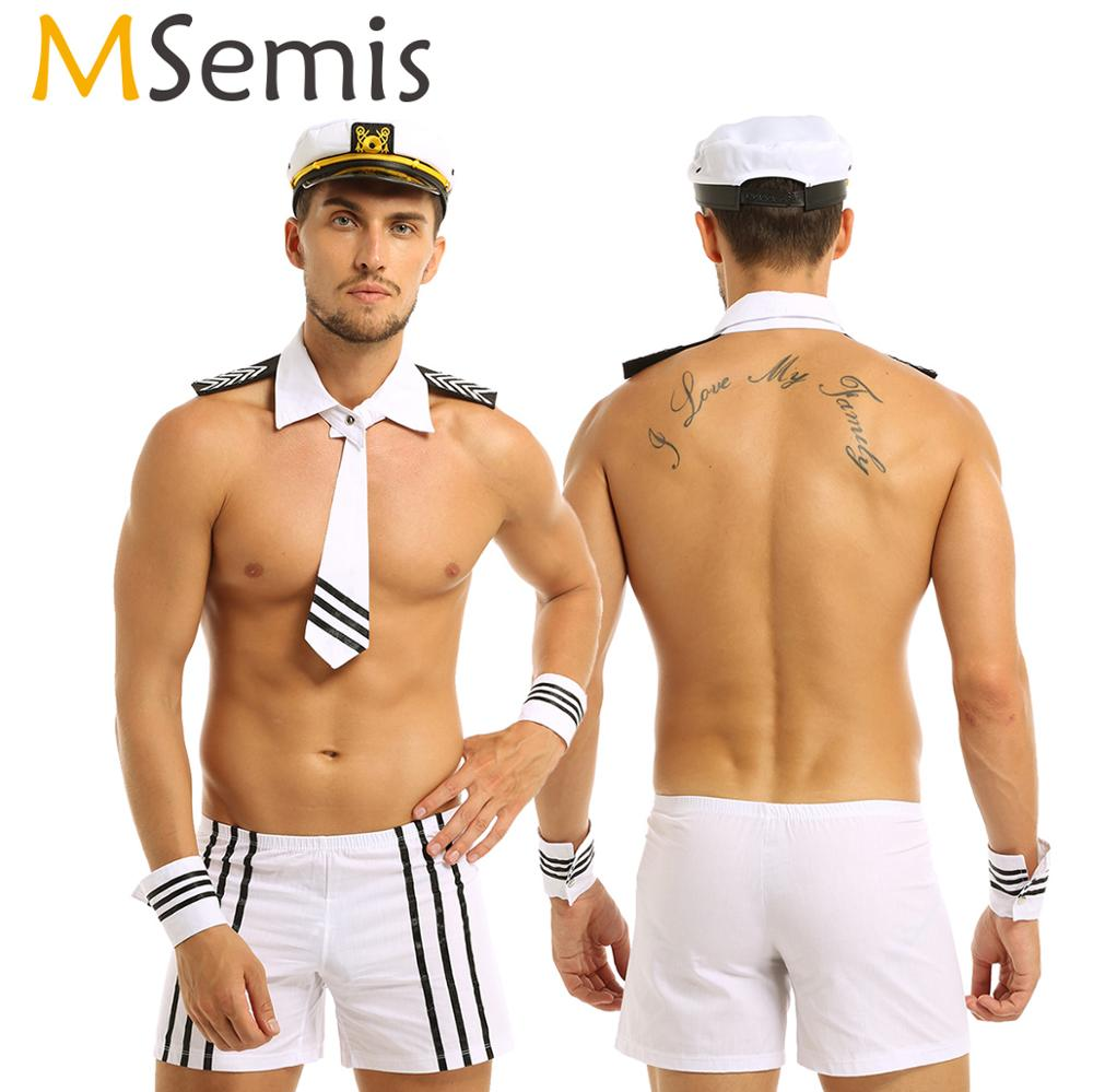 Adult <font><b>Men</b></font> Lingerie <font><b>Sexy</b></font> Sailor <font><b>Cosplay</b></font> Costumes Carnival Navy Uniform Shorts with Cap Collar Tie Cuffs <font><b>Cosplay</b></font> Party Nightwear image