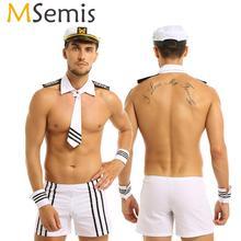 Volwassen Mannen Lingerie Sexy Sailor Cosplay Kostuums Carnaval Navy Uniform Shorts met Cap Kraag Tie Manchetten Cosplay Party Nachtkleding