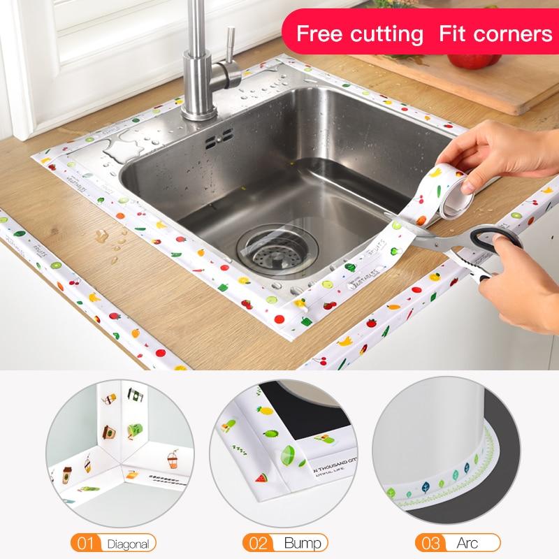 Kitchen Sink Waterproof Sticker Anti-mold Waterproof Tape Bathroom Countertop Toilet Gap Self-adhesive Seam Stickers 4
