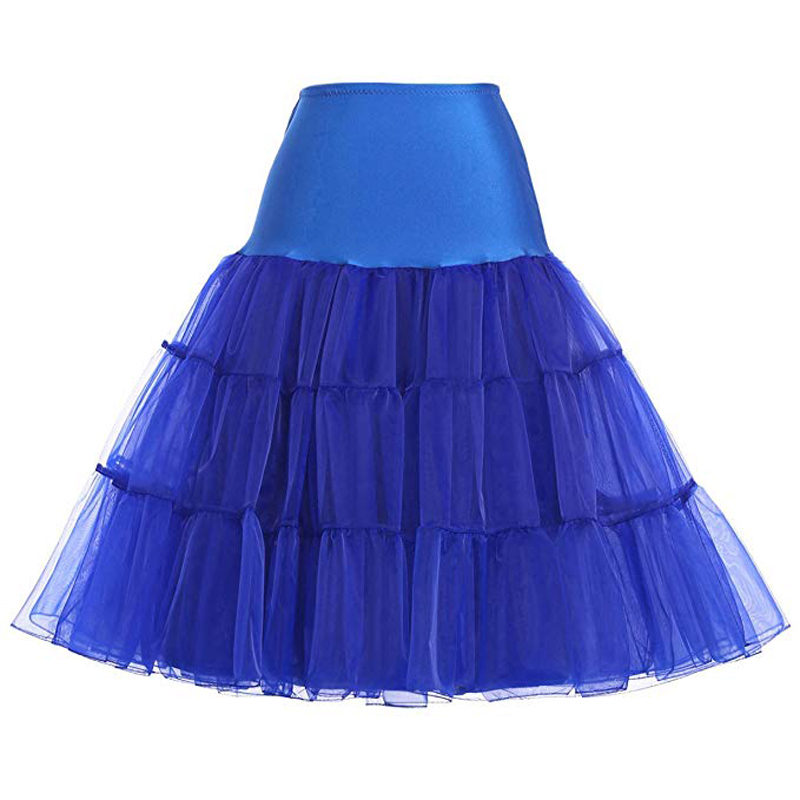 Clearance 2020 Fashion Women 50s Petticoat Skirts Tutu Crinoline Underskirt Blue Color XS-2XL