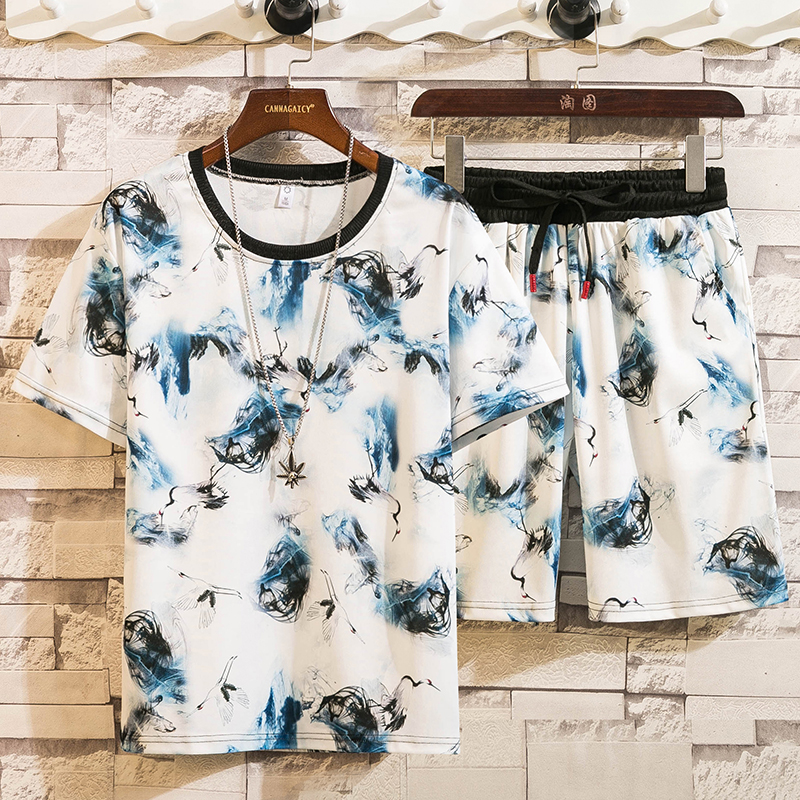 2020 Men's Summer Sets Shorts + Short Sleeve Tshirt Men Print O-Neck Beach Shorts Tee Male Tracksuits Elastic Waist Shorts Homme