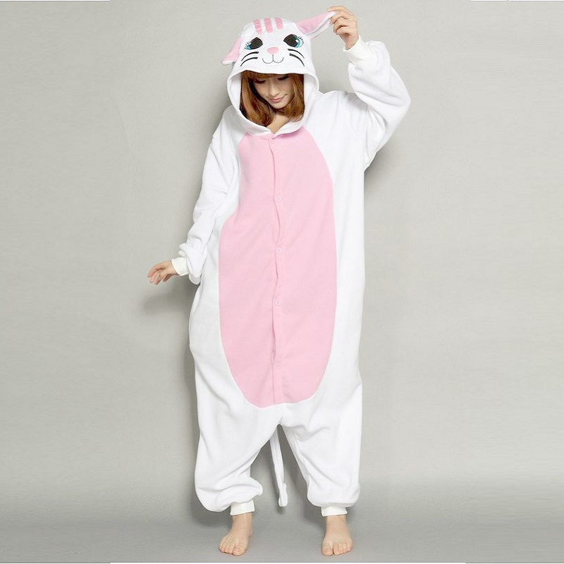 Kigurumi Cat Long Sleeve Hooded Onesies For Adults Flannel Warm Pyjama Animaux Kegurumi Onsie Whole Onepiece Animal Pajamas