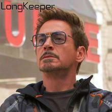 Vintage Tony Stark Iron Man Sunglasses Fashion Steampunk Sun Glasses Men Metal Square Eyewear iron 3 Gafas De Sol
