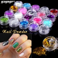 Yayoge 1Box Colorful Nail Sequins 20 Colors Nail Glitter Decorations Thin Flakes Glitter Designs Nail Art Paillettes Manicure