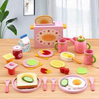 32PCS Kitchen Play House Toy Set Simulation Wooden Food Toaster Milk Cutlery Pretend Mold Game for Girl Children Kids