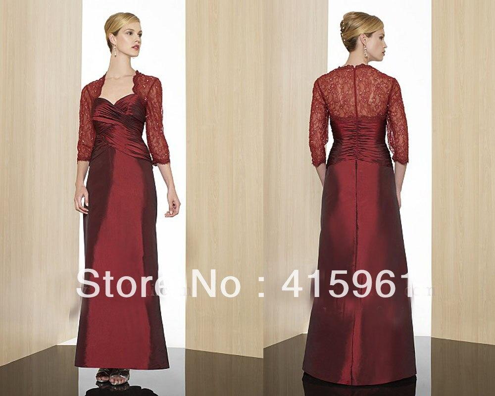 Burgundy Three Quarter Beaded Lace Custom Made Mother Of The Bride Dresses For Weddings Evening Gown Taffeta Vestido De Madrinha