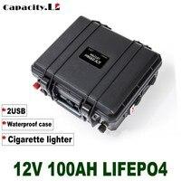 Batteria solare al litio impermeabile 12V 100ah lifepo4 batteria con BMS per energia solare motore e campeggio esterno camper