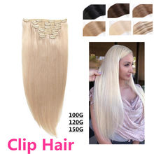 VSR Clip Hair Extensions Human Hair 100g 120g 150g 7pcs /8pcs 14-24inch Machine Remy Thick and Silky European Quality For Lady