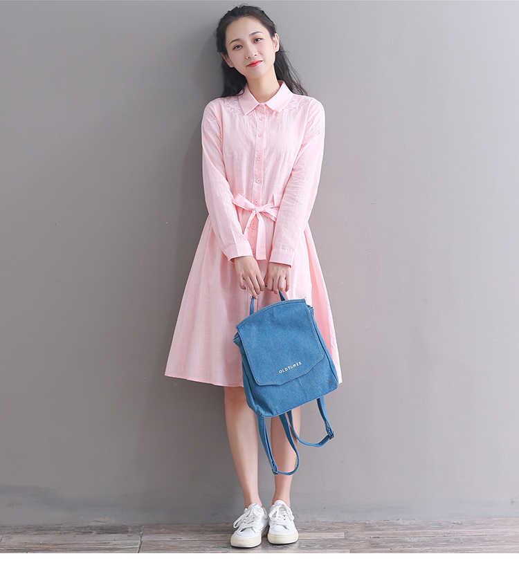 Mori Girl Spring Women Cute Dress Pink Blue Floral Embroidery Elegant Dress Cotton Linen Vintage Kawaii Korea Shirt Dress PV283