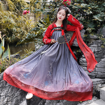 Classical Traditional Chinese Hanfu Dress for Women Elegant Ancient Folk Dance Costumes Tang Dynasty Fairy Clothing Cosplay 2018 autumn kids chinese princess costume traditional dance costumes girls floral children folk ancient hanfu tang dynasty dress