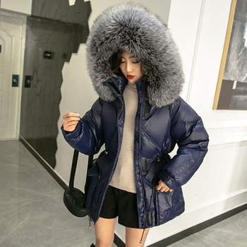 Women Winter Down Jacket Coat Long Warm Parkas Real Natural silver fox Fur Duck Down Coat Hooded Thicken Down Parka Female image