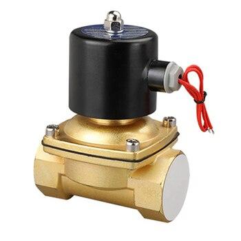 """DN35 G1 1/4"""" Solenoid Valve 12V 24V 220V Copper Valve Body Copper Coil Oil Pneumatic Water Oil Helium Valve"""