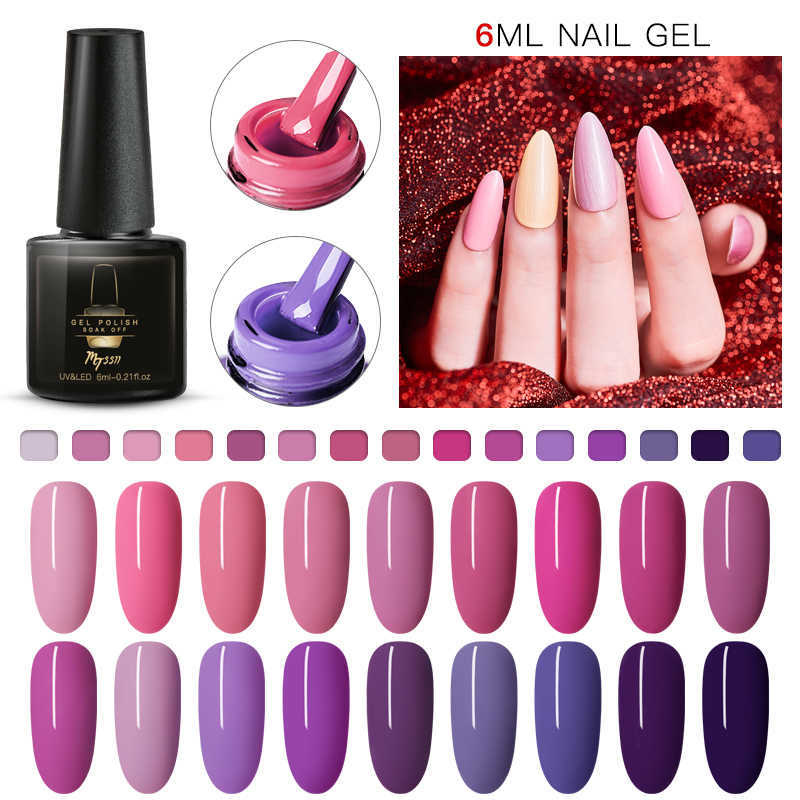 Mtssii 6 Ml Ungu Warna Seri Gel Nail Polish Rendam Off Uv Gel Varnish Kuku Gellak Semi Permanen Hybrid Kuku seni Gel Polandia