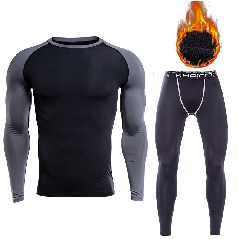 2019 New Arrival Thermal Underwear For Men Long Sleeve Thermo Fleece Undershirt And Underpants Tight Tranning Sets