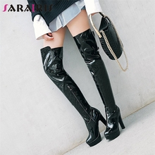 SARAIRIS Plus Size 32-48 Fashion Patent PU Lady Party Thigh High Over The Knee Knight Boots High Heels Platform Shoes Woman цены онлайн