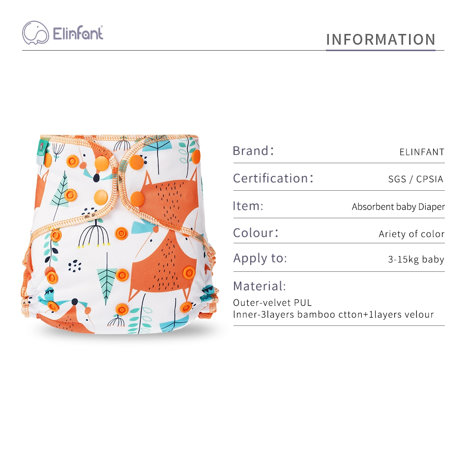 Elinfant super soft baby hybird A12 cloth diaper waterproof washable adjustable double strength suction