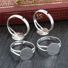8-10mm 10pcs Silver Plated Bronze Plated Adjustable Ring Settings Blank/Base,Fit 8/10/12mm Cabochons,Buttons;Ring Bezels