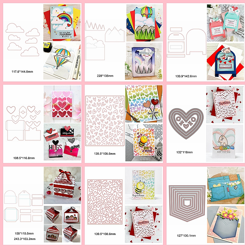 Mix Shape Heart Square Letter Cloud Grass Layered Hollowed Metal Cutting Dies Make Box Pocket Scrapbook Craft Decorate Cards New