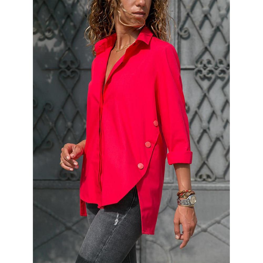 Split Hem Button Detail Tunics Women 5XL Plus Size Chiffon Shirt Casual Turn-down Collar Long Sleeve Women Blouses Summer Tops(China)
