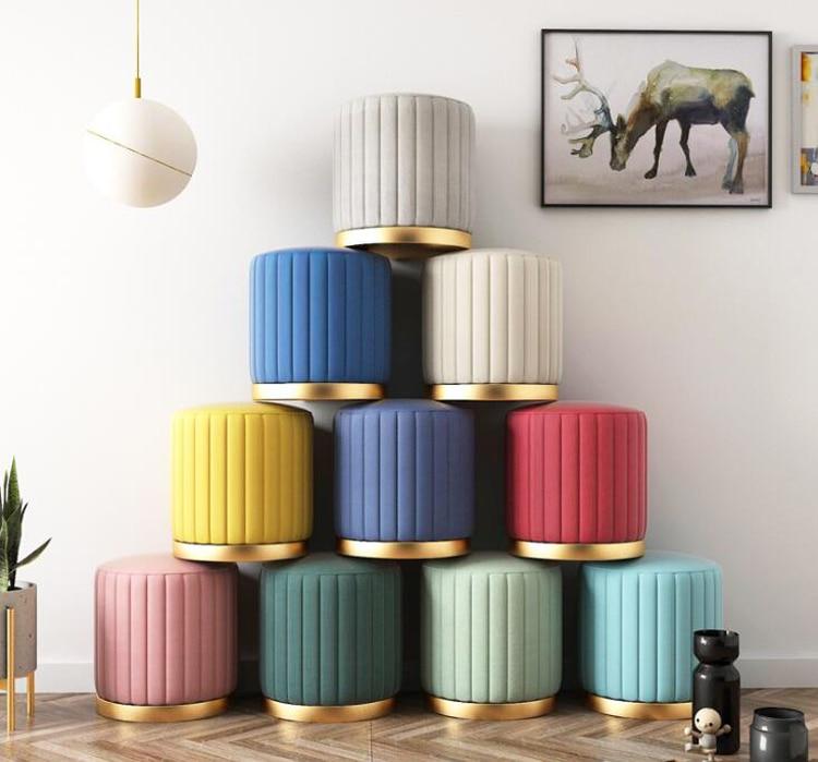 Nordic Minimalist Home Door Change Shoe Stool Luxury Living Room Small Round Stool Bedroom Dressing Stool Chair