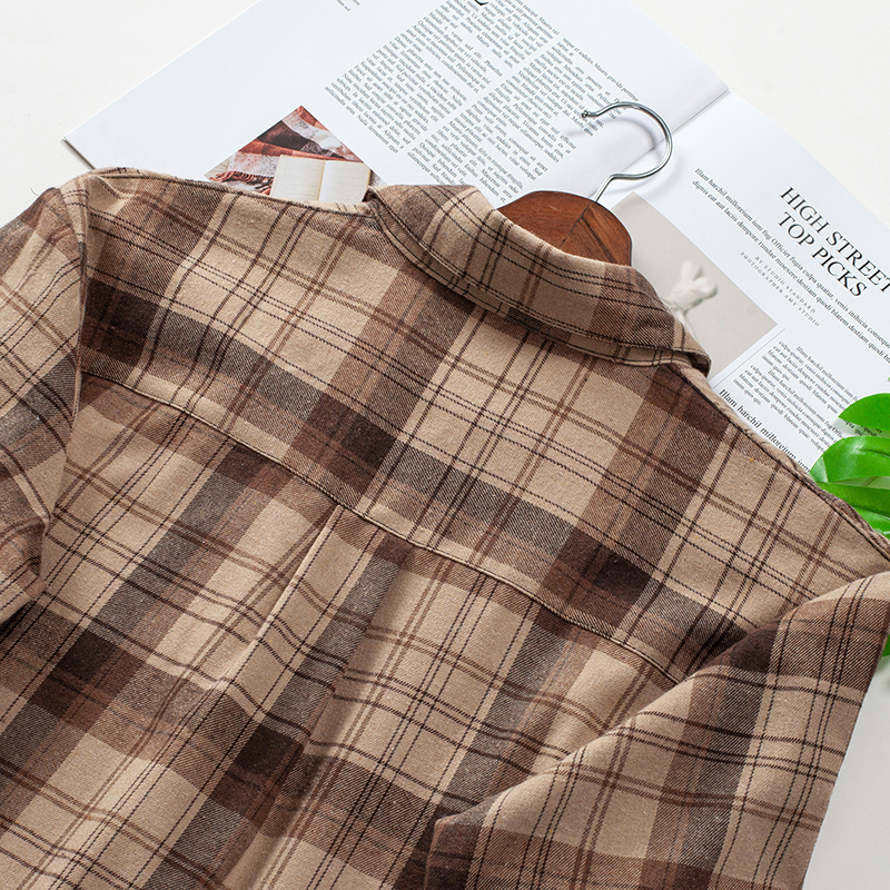 2020 Plaid Shirts Women Top And Blouses Long Sleeve Oversized Cotton Ladies Casual Blusas One Pocket Loose Female Checked Shirt