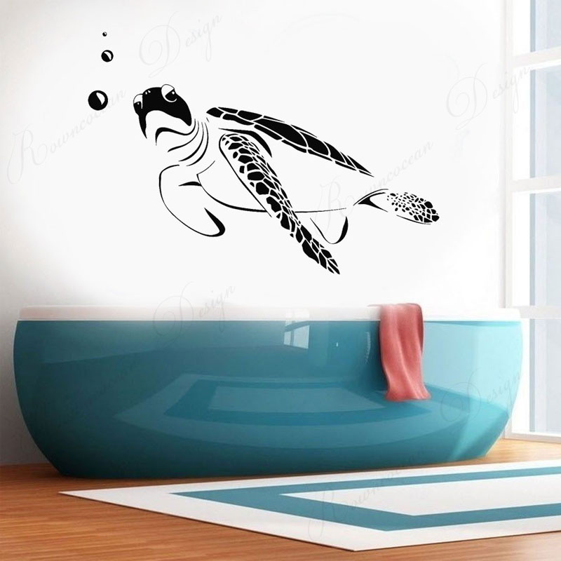 Ocean Sea Turtle Marine Bathroom Decor Vinyl Wall Sticker Home Decoration Washroom Removable Waterproof Decals Murals 4325