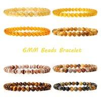 Amarillo marrón 6MM pulsera de piedra Natural brazaletes Ojo de tigre para hombres y mujeres citrino Jades Strand perlas brazaletes joyería de meditación